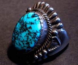 Harry H Begay Silver Ingot Lone Mt Turquoise Ring