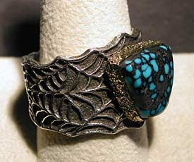 Tufa Cast Spiderweb Sterling Silver and 18kt Gold Ring  - 2nd view