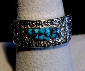 18kt Gold and Sterling Silver Lander Blue Turquoise Ring by Monty Claw