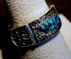 18kt Gold and Sterling Silver Lander Blue Turquoise Ring by Monty Claw - 2nd view