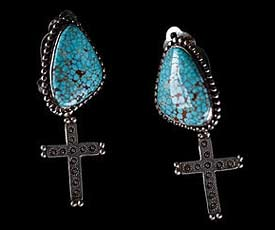 Number 8 Turquoise Silver Earrings - 2nd view