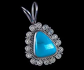 Silver Blue Fox Turquoise Pendant